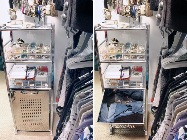 Tilt out clothes hamper with shelves