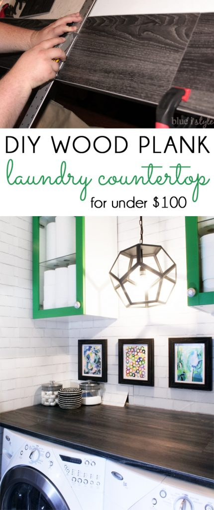DIY Wood Plank Laundry Countertop Under $100