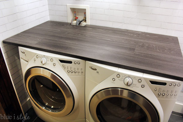 DIY Wood Plank Laundry Room Countertop - Blue i Style
