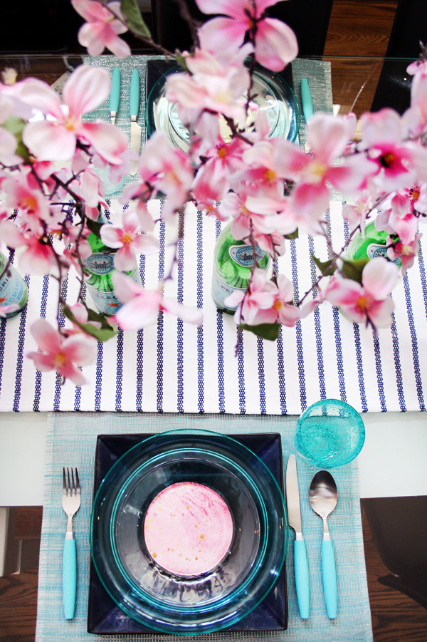 Pink and teal tablescape for spring and Easter