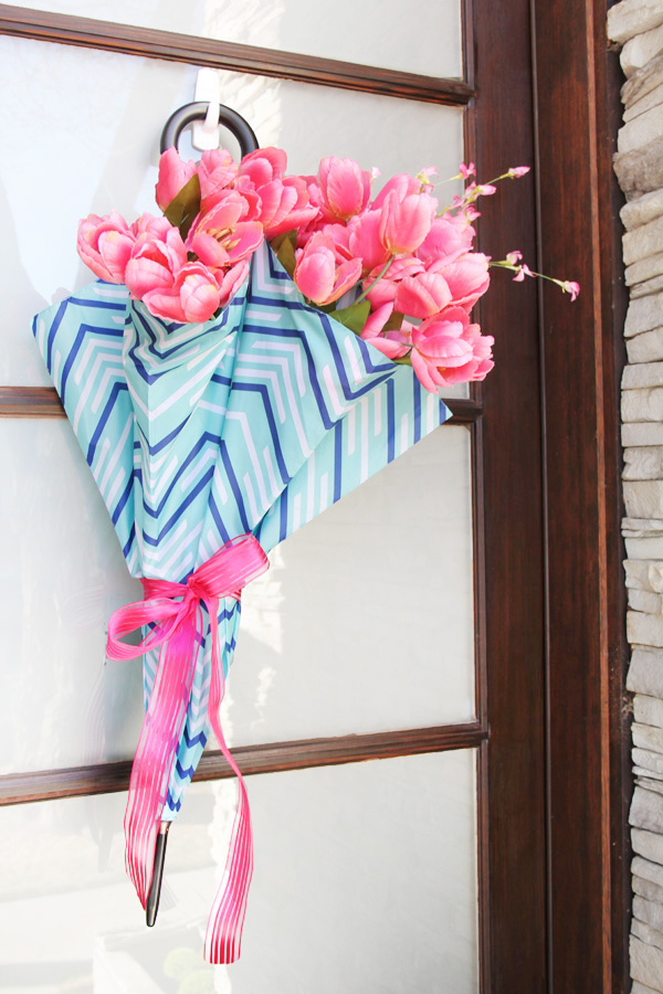 April Showers May Flowers Umbrella Wreath