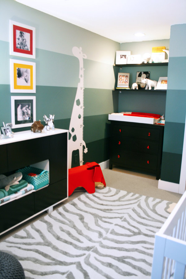 Teal striped animal themed nursery gender neutral