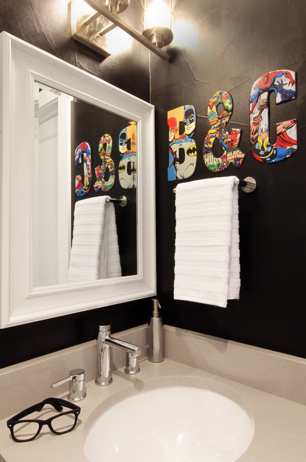 Sophisticated Superhero Bathroom with Black Walls