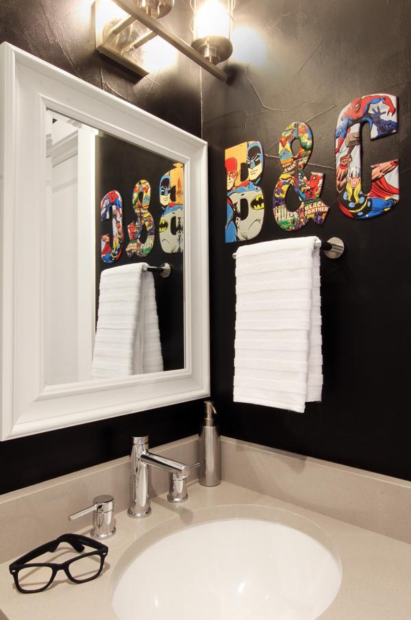 Sophisticated Superhero Bathroom with Black Walls