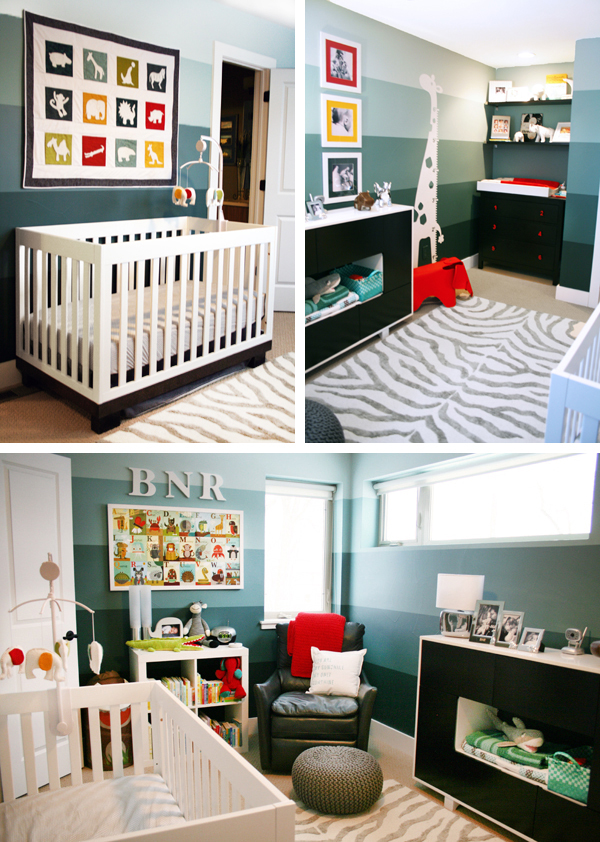 Teal, Red, Yellow, and Green Modern Safari Animal Nursery