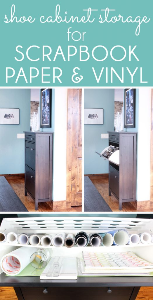 organize vinyl rolls and scrapbook paper