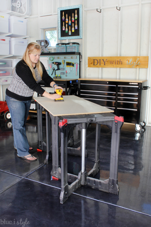 Sawhorse fold flat worktables are great for DIY projects in the garage