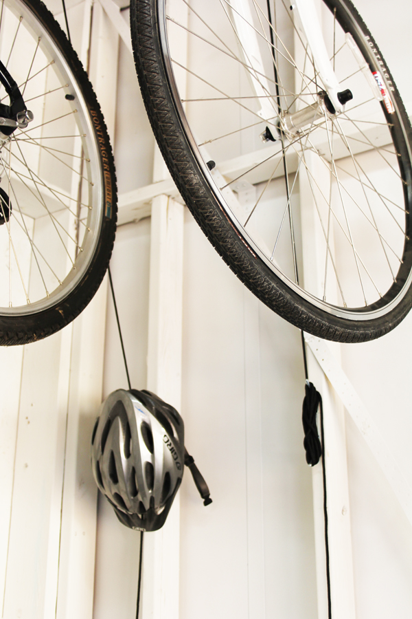 Bike pulley system in garage