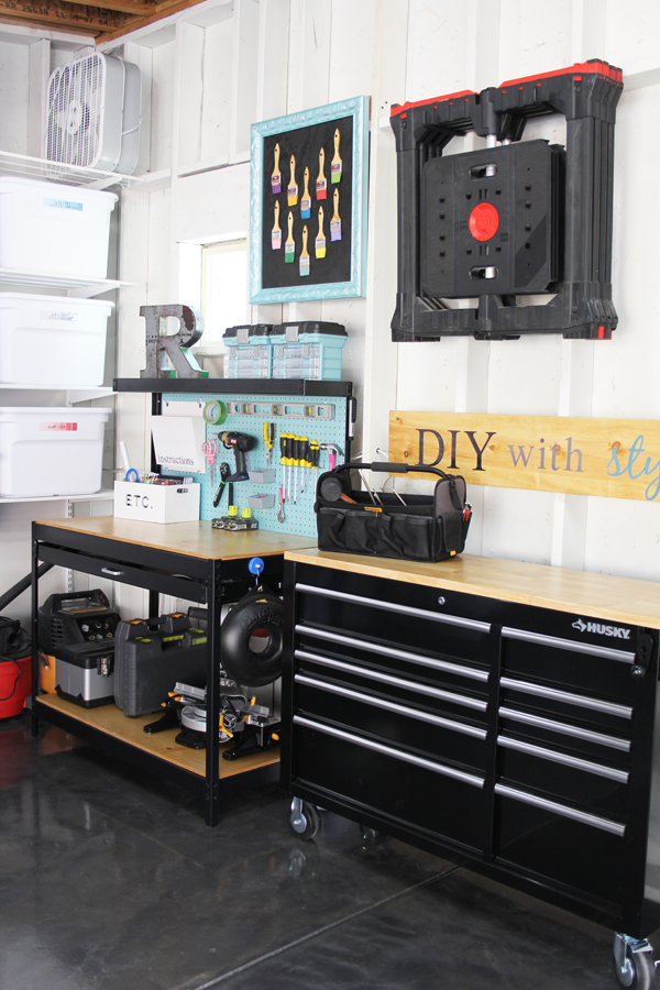 Hang sawhorses on garage wall