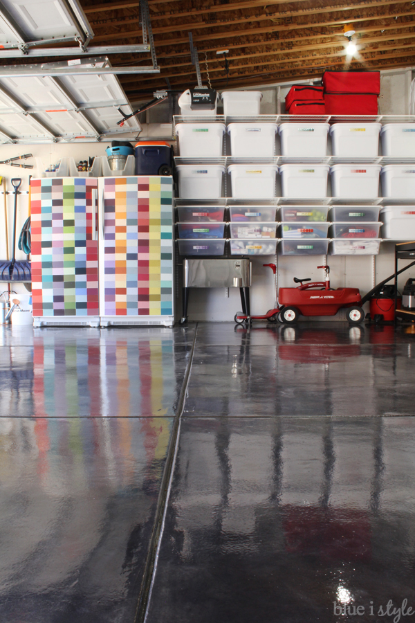Organized garage ideas with rocksolid metallic floor