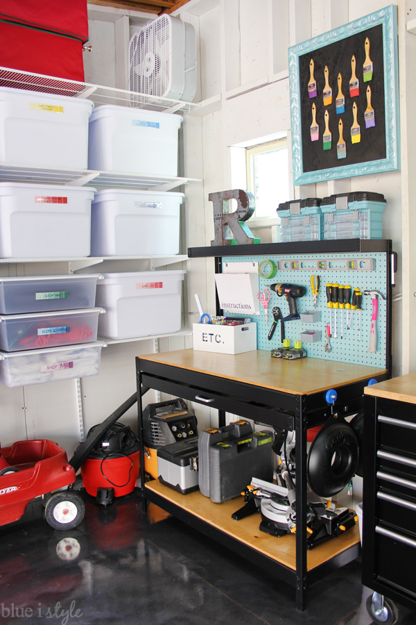 Garage workbench how to store miter saw