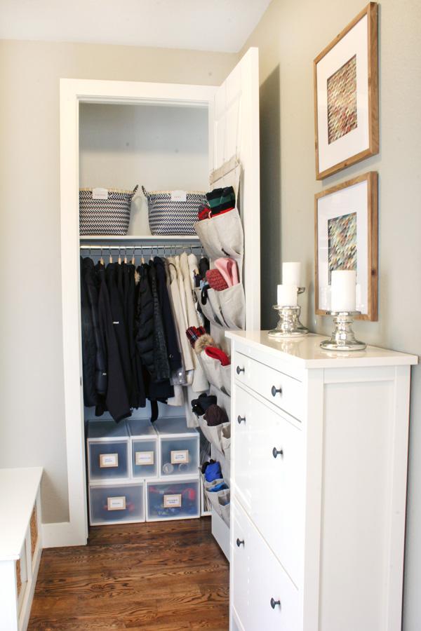 Mud room shoe storage and organized coat closet