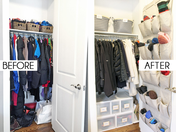 Coat closet storage before and after