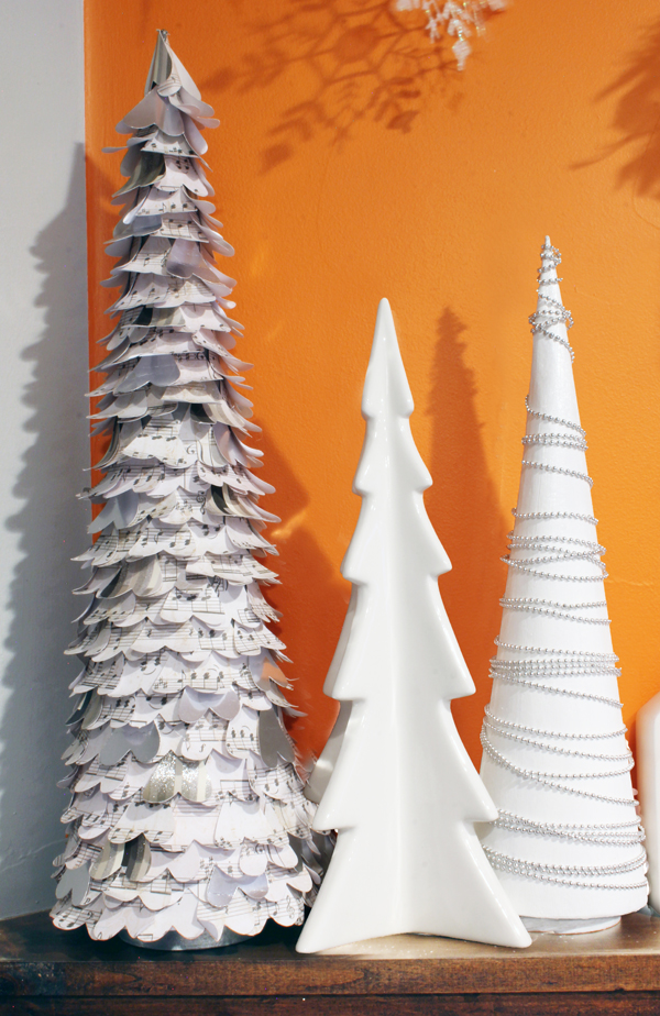 White DIY Christmas trees