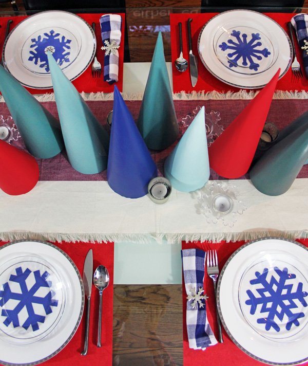 Cricut snowflakes holiday table setting