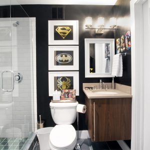 sophisticated super hero bathroom