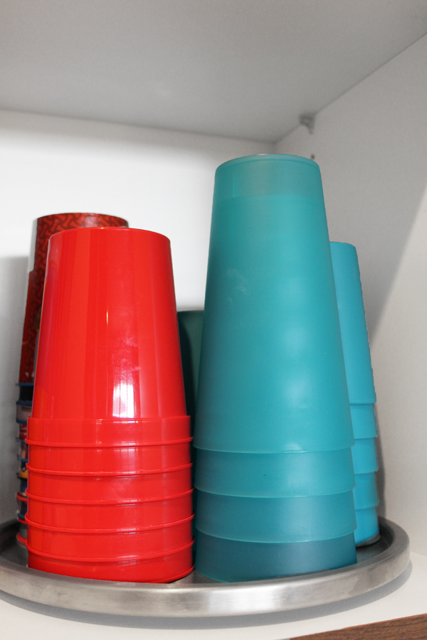 Store Plastic Cups on Lazy Susan