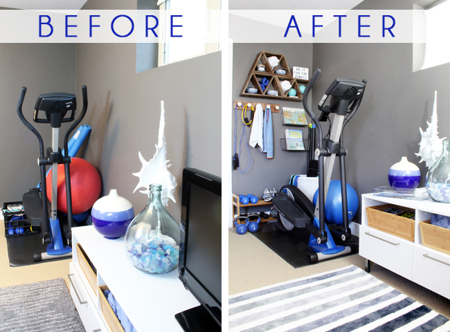 Corner Home Gym Before After