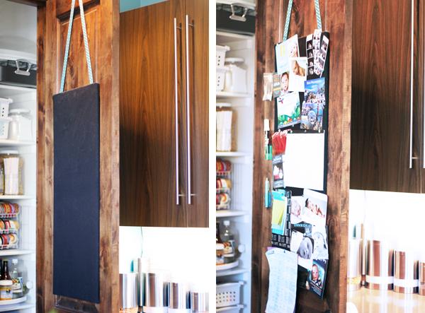 Pantry door bulletin board