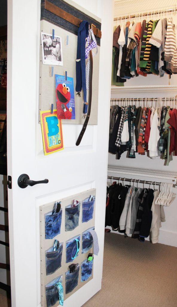Organize accessories on back of closet door