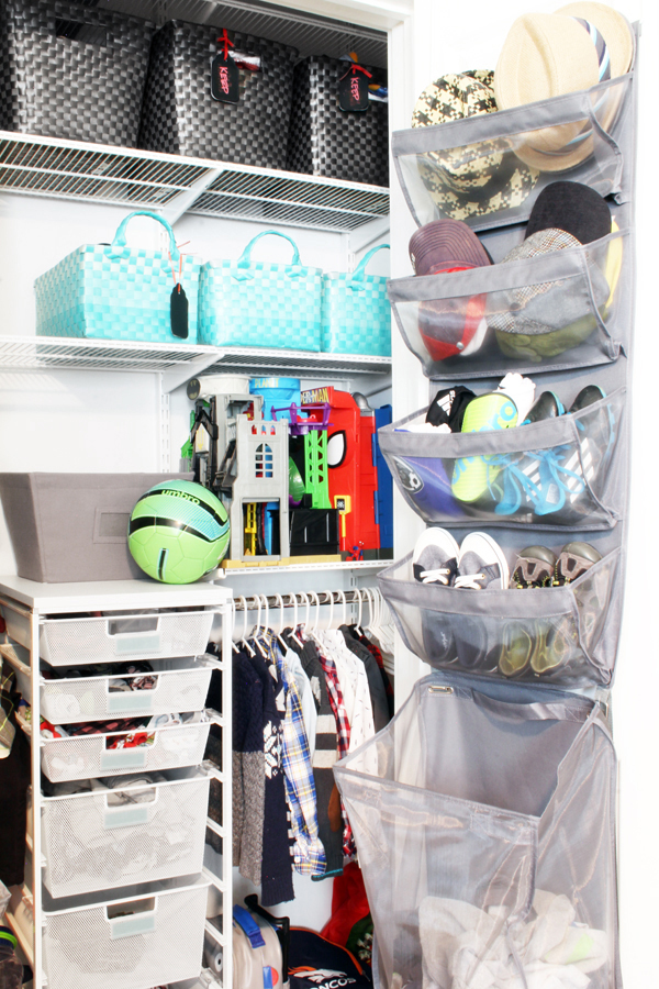 Back of closet door organizer with removable laundry hamper
