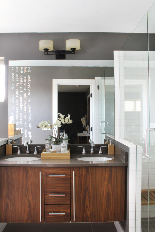 Bathroom white subway tile grey walls