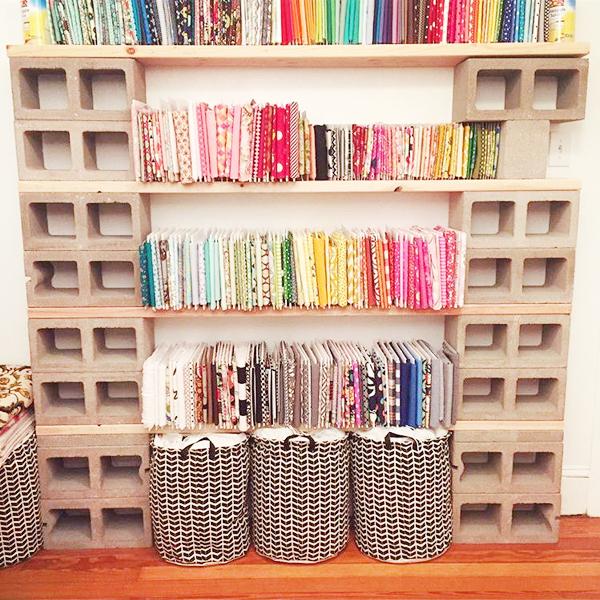Fabric Storage Ideas on cinder block shelves