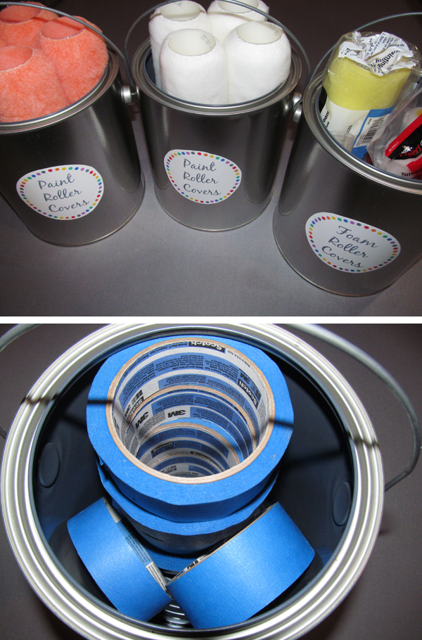 Organize extra painting supplies in empty paint cans. Use paint cans to store roller covers, paint brushes, painters tape, stir sticks, and more!