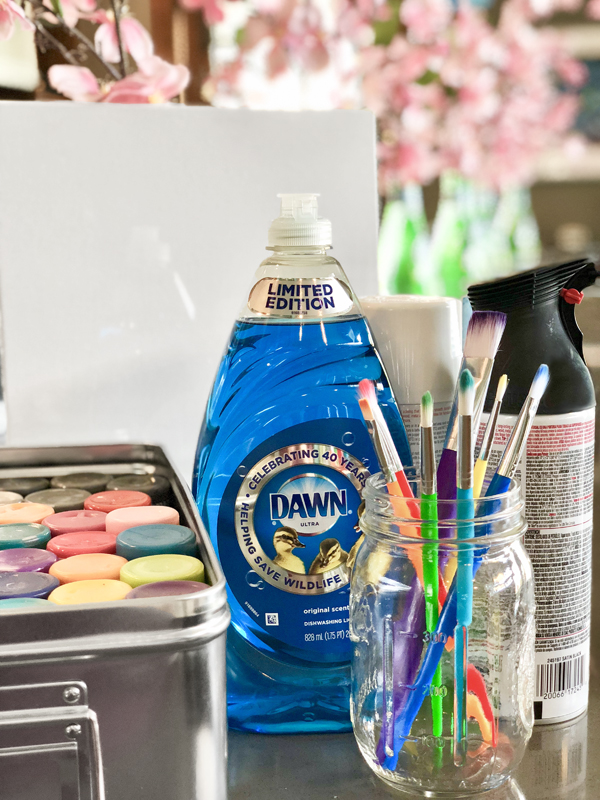Dish Soap Resist Painting Supplies