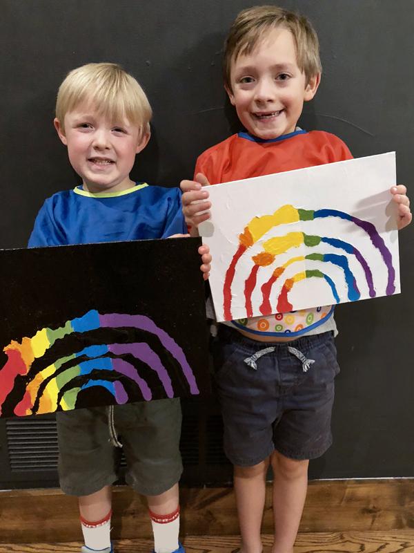 Simple kids art project rainbow resist paintings