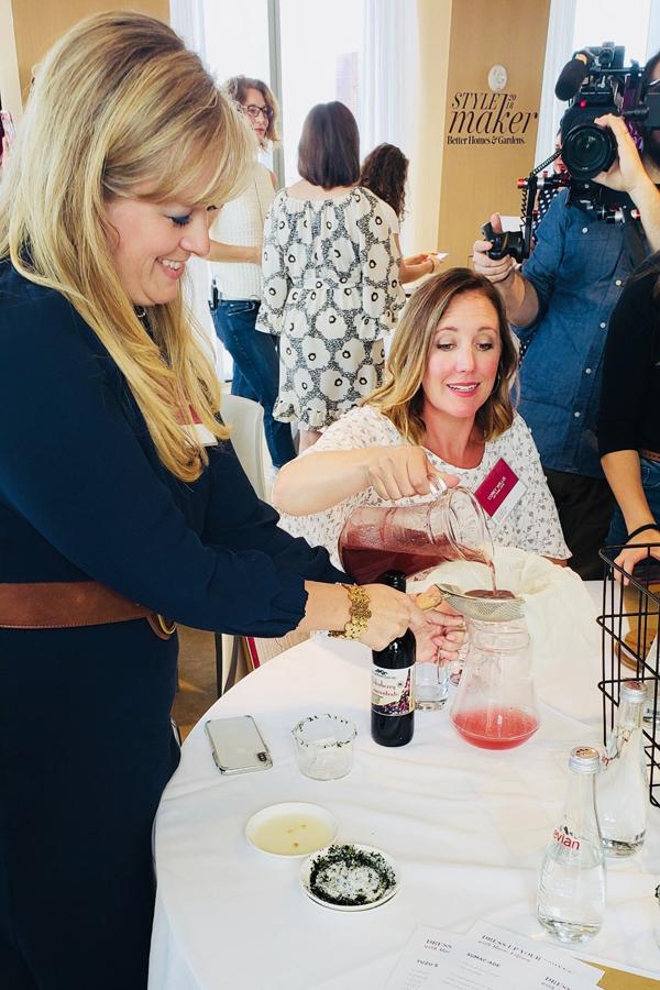 Making Yuzu Sumac cocktail at BH&G Stylemaker Workshop
