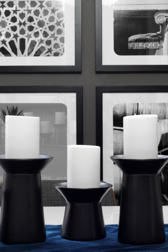 Dining room centerpiece with Ikea Candleholders