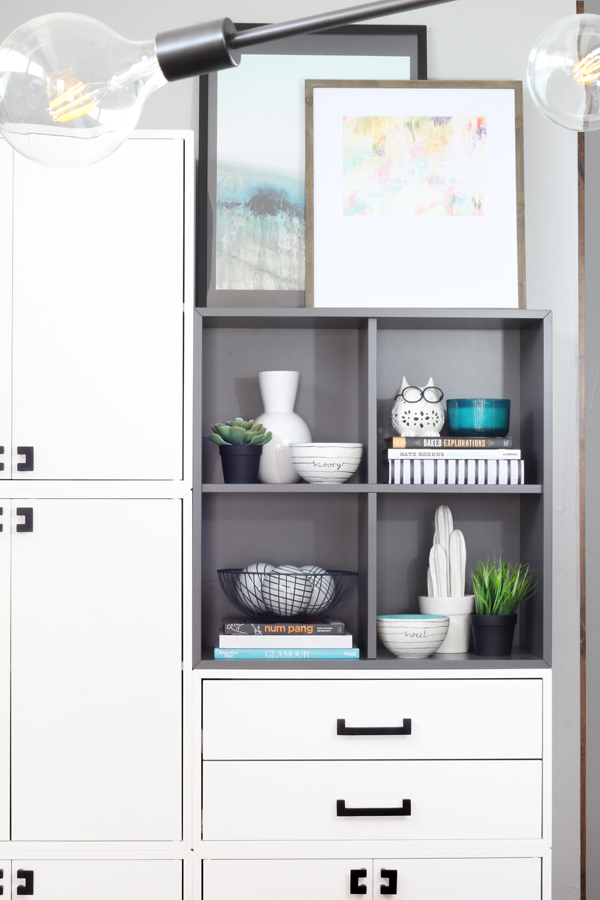 White Ikea Eket Drawers and Gray cubical shelves with modern handles