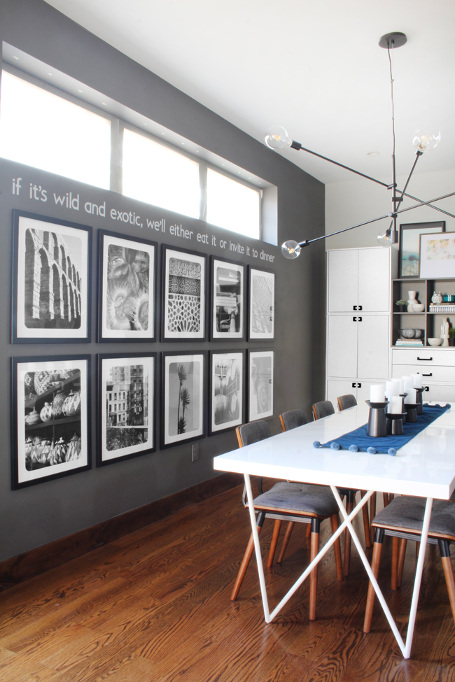 Dining Room Black and White Gallery Wall