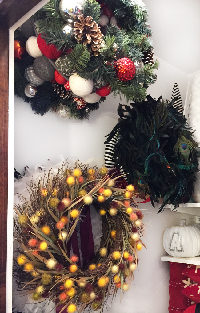 how to store Christmas wreaths with wreath storage hangers