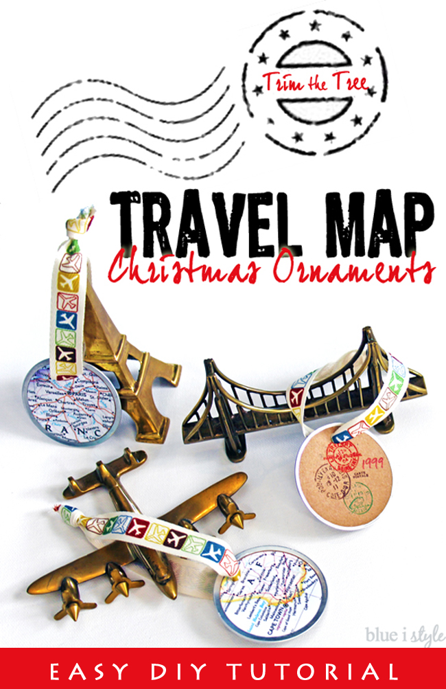 DIY Map Ornaments for Travel Christmas Tree