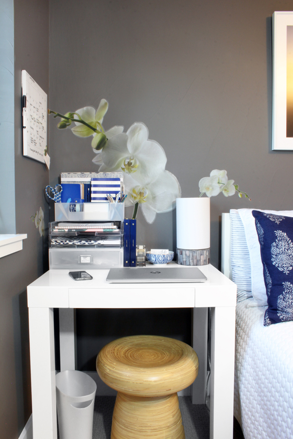Home Office in Bedroom with Double Duty Nightstand Desk
