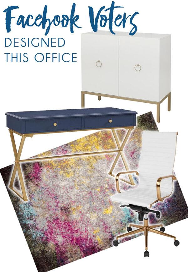 Gold glam home office decor with blue writing desk