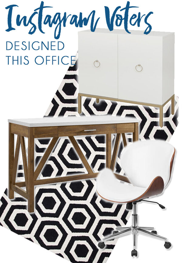 home office design with black and white rug, white marble desktop, modern white swivel chair