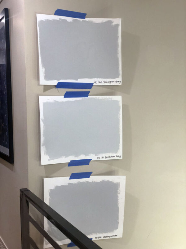 Light grey paint sample boards