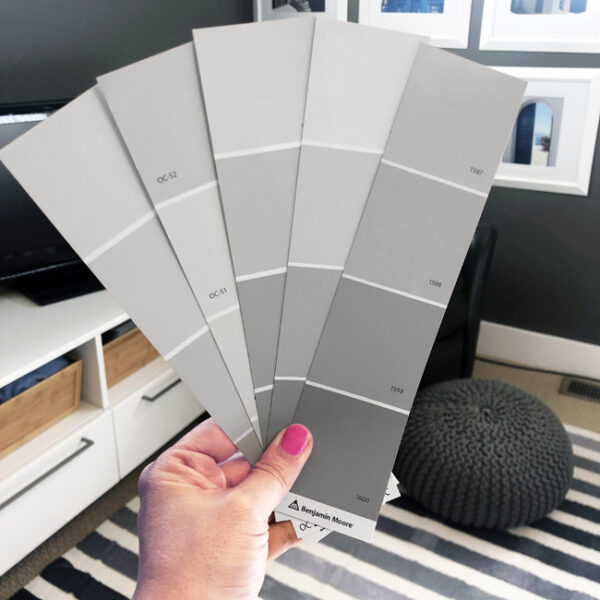 Look at paint swatches in room you plan to paint