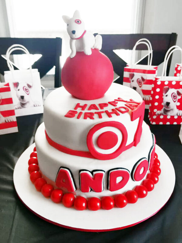Target-themed birthday cake