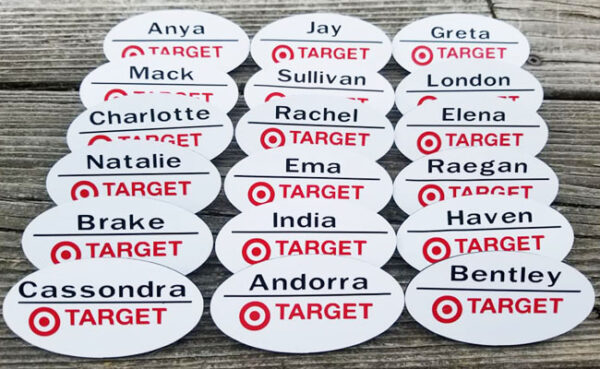 Target-themed party Cricut made name tags