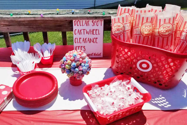 popcorn in a Target shopping basket party decor