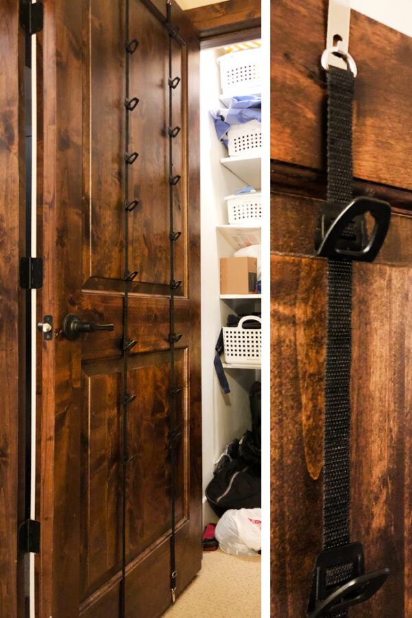 Organize purses and bags on back of door