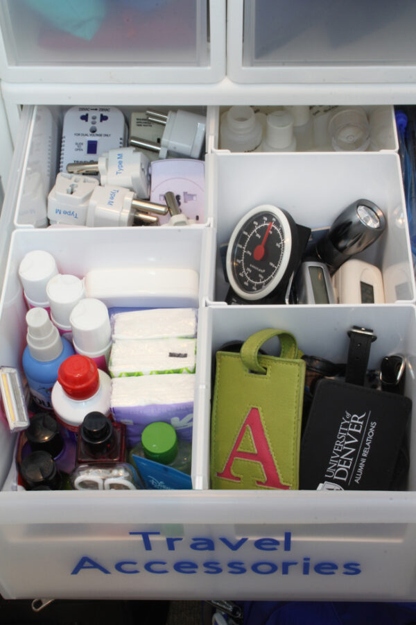 How to organize travel gear in a drawer