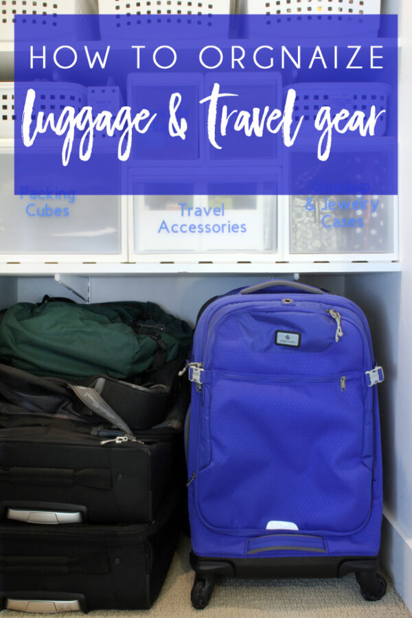 organize travel gear store luggage at home