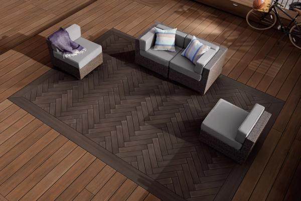 Inlaid herringbone pattern deck