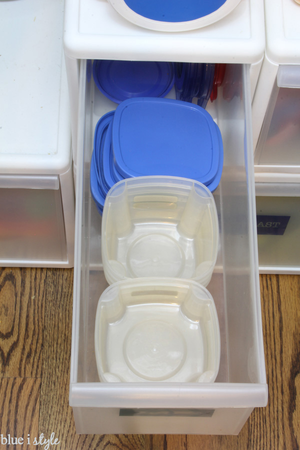 Drawer of tupperware for packing school lunches