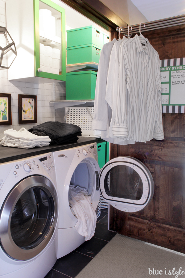 Laundry closets with countertop and space for hanging clothes